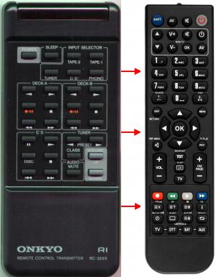 Erstatnings-fjernbetjening til  Onkyo A807-HI FI