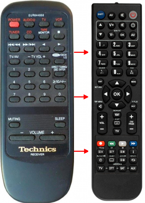 Replacement remote control for Technics EUR644858