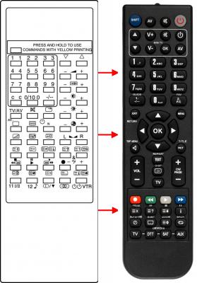 Erstatnings-fjernbetjening til  Panasonic 0170 40017