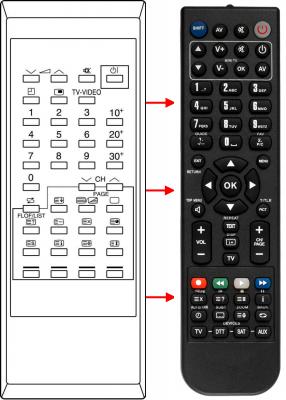 Erstatnings-fjernbetjening til  Humax 5300VACI