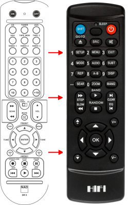 Replacement remote control for Nad C320BEE