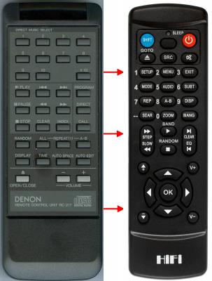 Erstatnings-fjernbetjening til  Denon 210TITANE