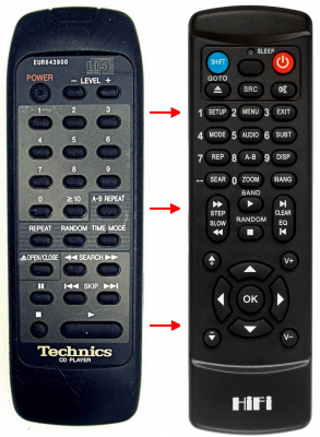 Replacement remote control for Technics EUR643900