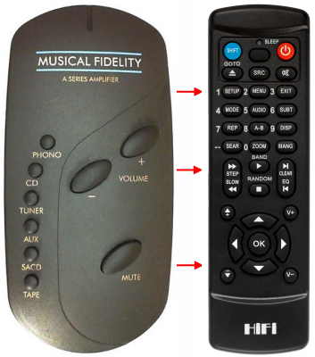 Replacement remote control for Musical Fidelity A300