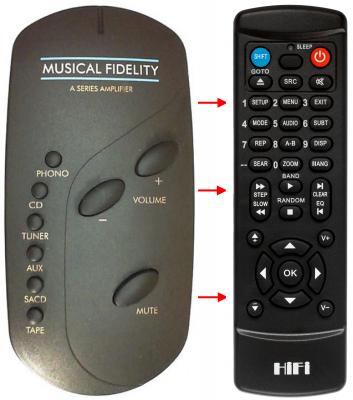 Erstatnings-fjernbetjening til  Musical Fidelity A300