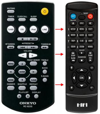Erstatnings-fjernbetjening til  Onkyo A9030