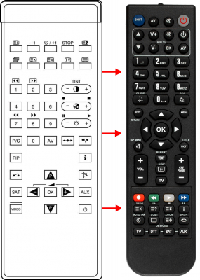 Replacement remote control for Grundig 100SE7030GREENVILLE