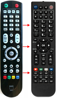 Replacement remote control for Nad AV3