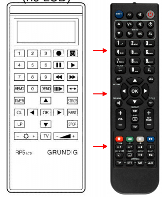 Replacement remote control for Grundig 1171OOIDTV
