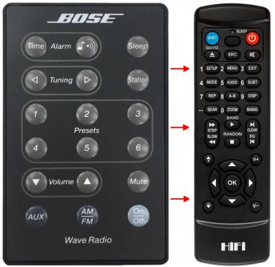 Erstatnings-fjernbetjening til  Bose AWR1-1W