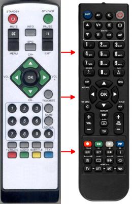Erstatnings-fjernbetjening til  Audiola DEC-640