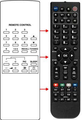 Erstatnings-fjernbetjening til  Maxell CTV3630