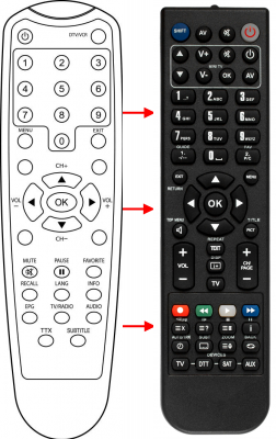 Replacement remote control for DK Digital DVB-T237R