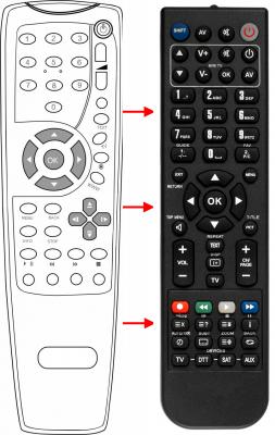 Erstatnings-fjernbetjening til  Motorola VIP1910-9
