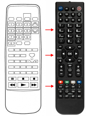 Replacement remote control for Aiwa 74HC4316