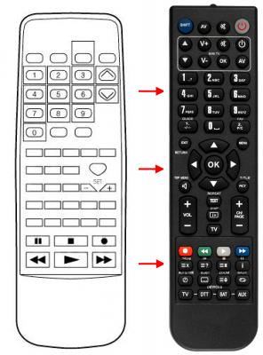 Erstatnings-fjernbetjening til  Aiwa 74HC4316