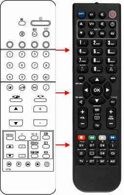 Replacement remote control for Toshiba 030-9814