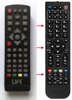 Erstatnings-fjernbetjening til  Mpman DVB-T2500R
