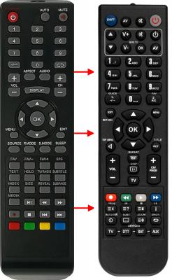Erstatnings-fjernbetjening til  Hantarex 6GLCD19TV