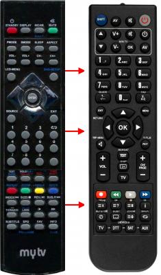 Erstatnings-fjernbetjening til  Mytv 22LED TV DVB-T