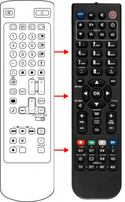 Replacement remote control for Sony 1-249-409-11
