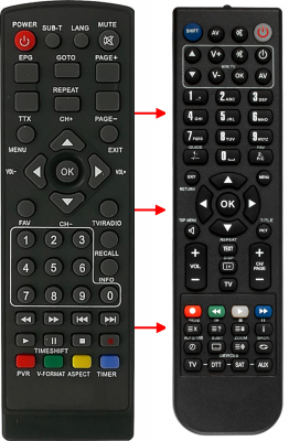 Replacement remote control for Zhong-ou HD-999