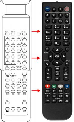 Erstatnings-fjernbetjening til  Tokai 5150PS
