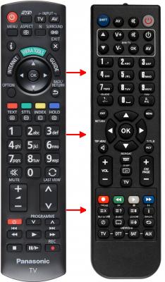 Erstatnings-fjernbetjening til  Panasonic 00517A