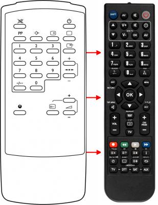 Erstatnings-fjernbetjening til  LG 105-042F