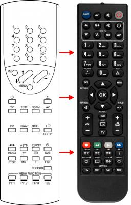 Erstatnings-fjernbetjening til  Technisat 00009671