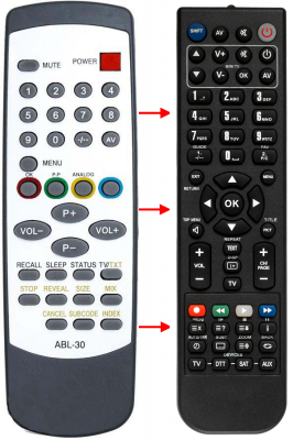Replacement remote control for Akai 1404