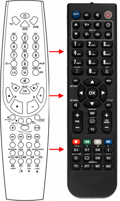 Erstatnings-fjernbetjening til  Ecron DVB26-TDTNG