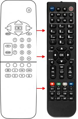 Erstatnings-fjernbetjening til  Seitech RC-5R