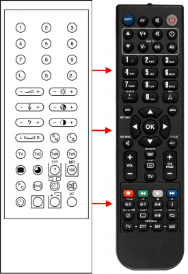 Replacement remote control for Toshiba 030 239