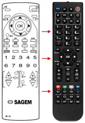 Erstatnings-fjernbetjening til  Sagem 30014229300A