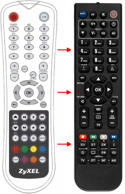 Replacement remote control for Zyxel STB-2101H