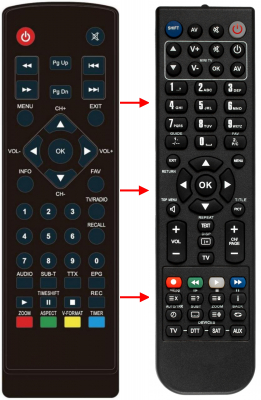 Erstatnings-fjernbetjening til  Digital Box HDT-100