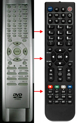 Replacement remote control for Abcom DVD-SRT1550