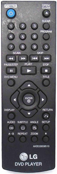 Replacement remote control for LG DP542H