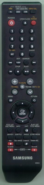 Replacement remote control for Samsung DVD-VR375